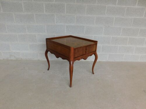 Baker French Style Burl Walnut Accent End Table