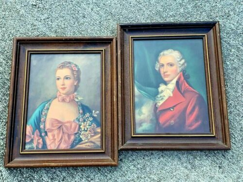 Rococo Renaissance French Provincial FRAMED ART Courting Couple SET 15/12 ❤️j8