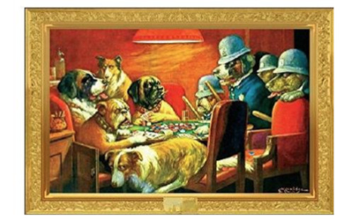 BOLD BLUFF - DOGS PLAYING POKER POSTER 24x36 - 24211
