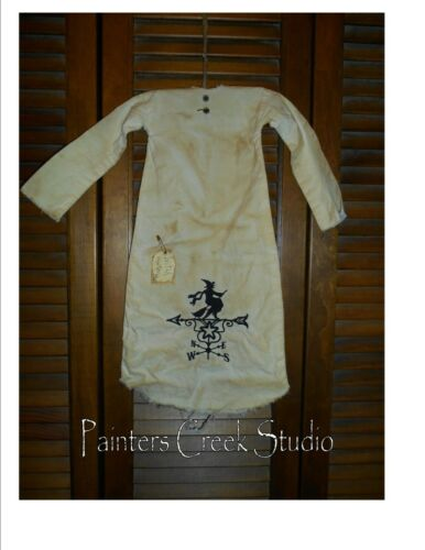 Primitive Decor WITCH ON BROOM WEATHERVANE NIGHTSHIRT Grungy,Country, Halloween