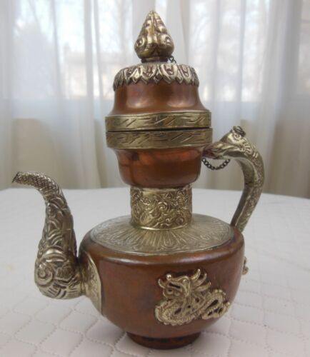 VINTAGE SILVER ALLOY & COPPER DECORATIVE TEA POT TEAPOT