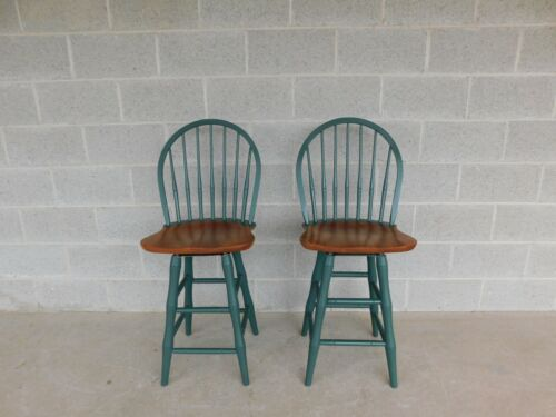 Nichols & Stone Hoop Back Windsor Style Counter Stools - a Pair