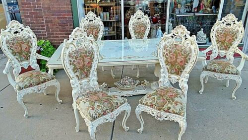 French Italian Baroque Super Ornate Dinning room table & chairs With face Motif