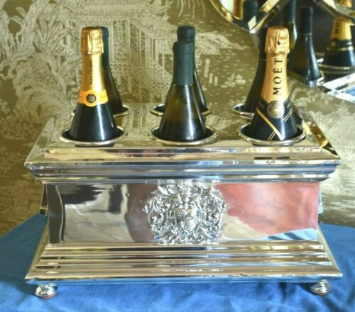 Antique Edward Farrell Sterling Silver Crown 6 Wine Bottle Plated Tantalus Box