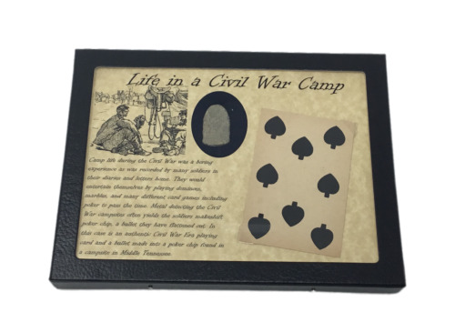 Original Civil War Playing Card & Flatten Bullet for Poker Chip in Case and COA Bullets - 103996