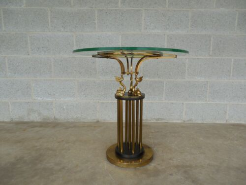 """Vintage Hollywood Regency Brass Coy Fish Decorative Asian Style Accent Table 24"""""""