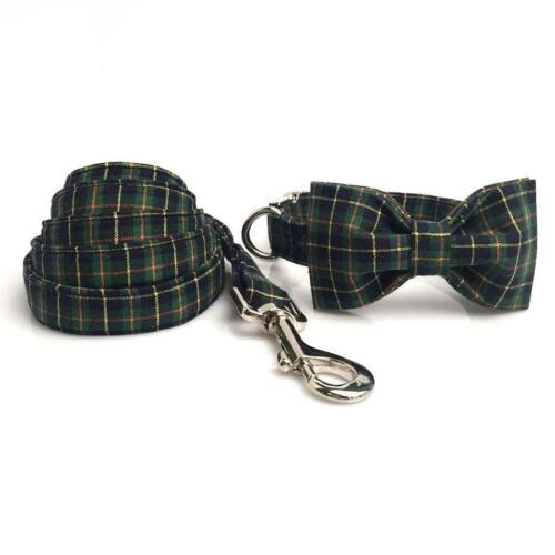 Christmas Green Plaid Dog Collar & Cat Collar -Designer Collar Bowtie & Lead Set