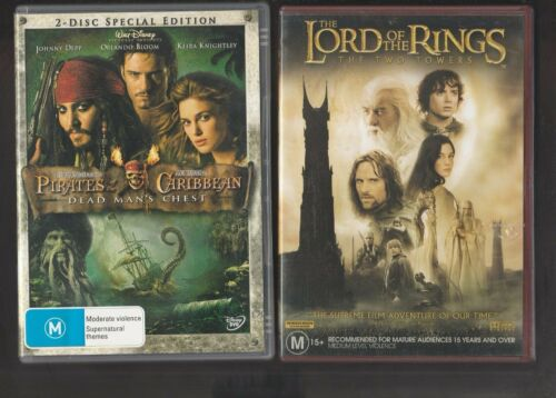 2 DVDs, Lord of the Rings Two Towers + Pirates of the Caribbean Dead Man's Chest