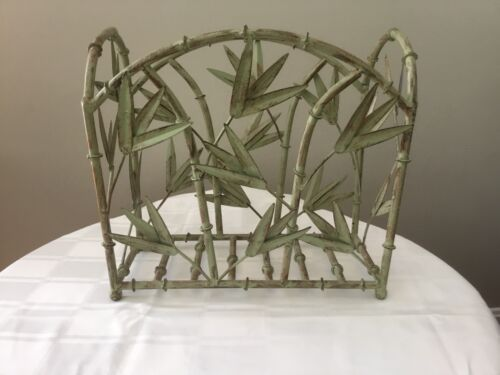 FAUX BAMBOO CHINOSERIE MAGAZINE RACK STAND SEAFOAM JADE GREEN TOLE