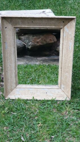 Distressed Cream Painted Wooden Framed Antique & Rustic Mirror