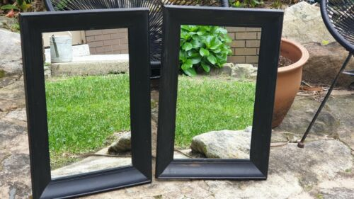 Black Painted Wooden Framed Antique & Rustic Mirrors x 2 - Matching Pair