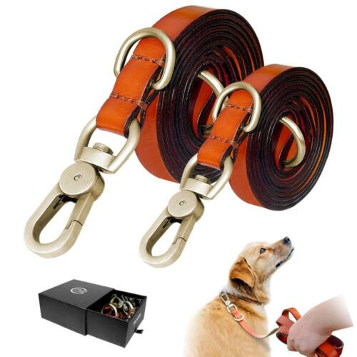 Genuine Leather Dog Leash -Heavy Duty Lead for Walking Running for Medium Large