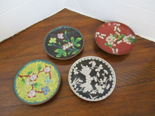 OLD Chinese Enamel on Copper Floral Coaster Set of 4 - Floral Motifs - Gorgeous!