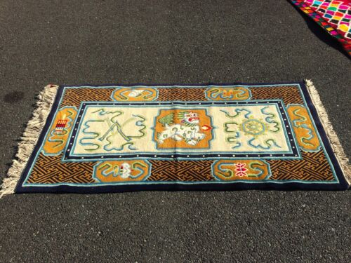 AUTH: BEAUTIFUL VINTAGE TIBETAN RUG, ORGANIC DYES, EXTREMELY RARE COLLECTABLE!