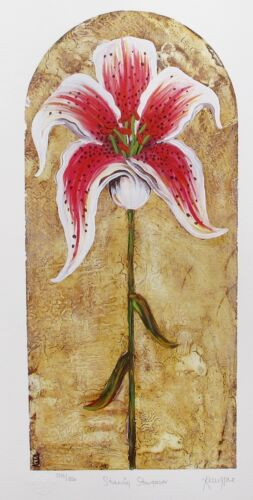 """KELLY JANE """"STUNNING STARGAZER LILY"""" Hand Signed Limited Edition Lithograph Art"""