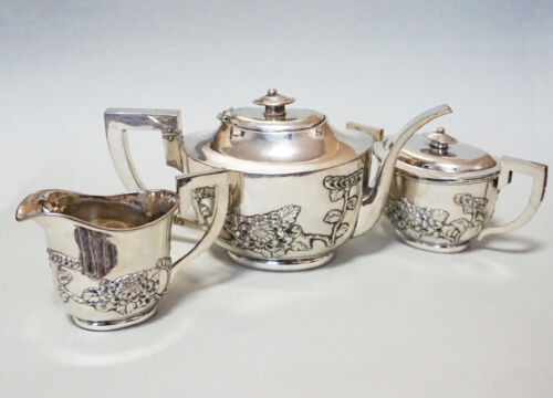 947 GRAMS ANTIQUE CHINESE EXPORT STERLING SILVER TEA POT TEAPOT OR COFFEE SET