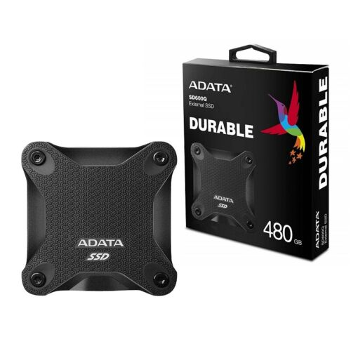 Adata 480GB Ultra-Speed External Solid State Drive Shock Resistance USB3.1 Black