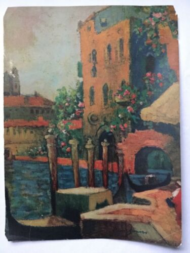 """Vintage Lithograph Art Print Venice Italy? Signed in Print - 12"""" x 9"""""""