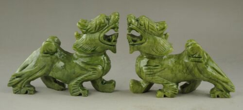 Exquisite Chinese Hand Carved Natural green Jade Dragon Pixiu Statue Pair RT