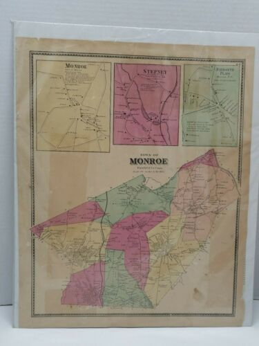 Antique hand colored map of the Town of Monroe, Connecticut 1867,