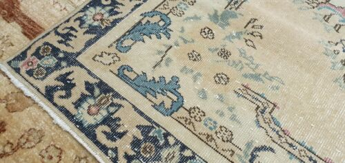 Rare Antique Cr1900-1939s Muted Natural Dye Wool Pile Oushak Area Rug 4'x6'8""