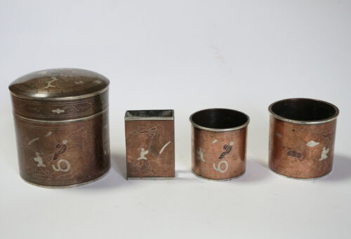 ANTIQUES CHINESE INDO CHINA SILVER AND COPPER OPIUM TOBACO KITS