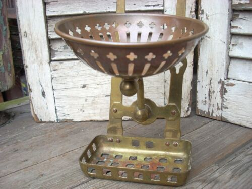 antique wall mount copper & brass wall soap & sponge dish holder