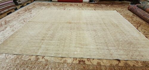 Exquisite Antique 1930-1939s Wool Pile Muted Dye Distressed Oushak Rug 7x9ft