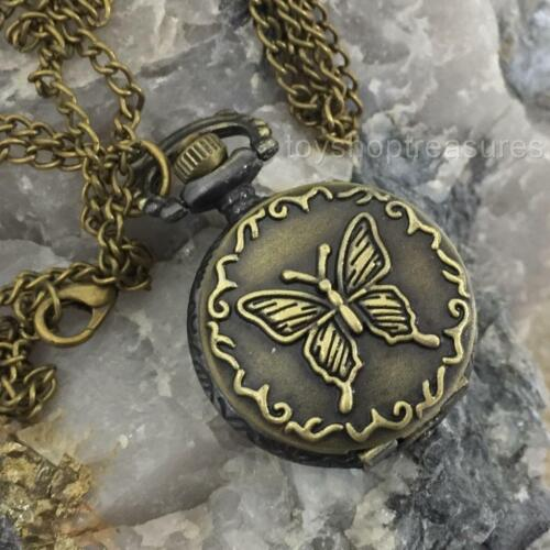New Antique Brass Style Butterfly Pendant Pocket Watch Necklace