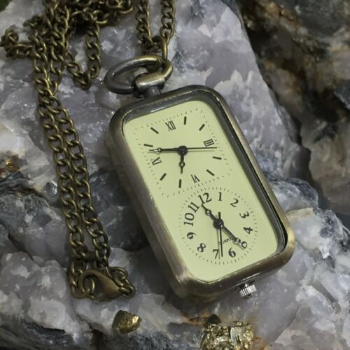 New Antique Brass Style Dual Face Watch Pendant Necklace