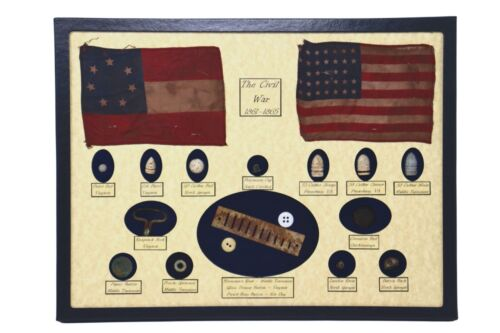 Civil War Relics, Bullets, Harmonica Reed in Display Case (16 Piece) with COABullets - 103996