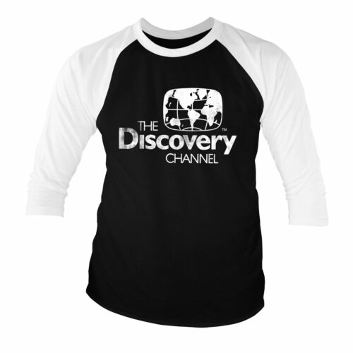 Officially Licensed Discovery Channel Distressed Logo 3/4 Sleeve T-Shirt S-XXL