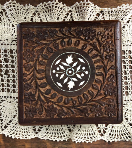 Hand carved vintage wooden square Trinket Box from India Boho style