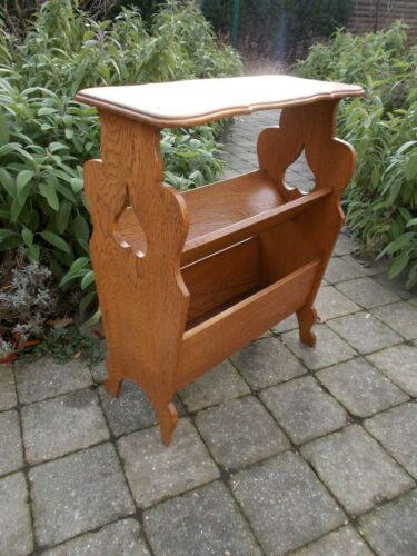 occasional Side Table Magazine Rack Book Shelf Antique