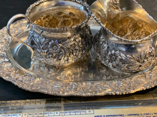 SCHOFIELD BALTIMORE ROSE STERLING CREAMER AND SUGAR DEMITASSE SIZE AND TRAY