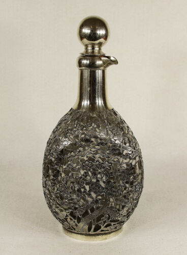 Antique Chinese Silver Over Glass Decanter Signed Yun Shun