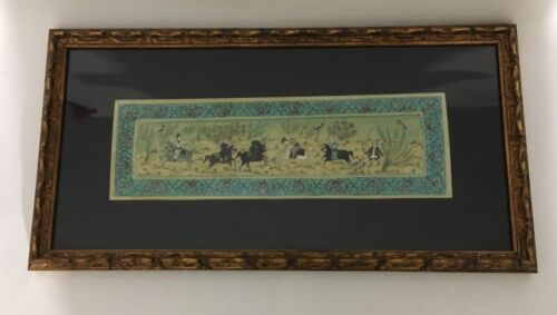 Early 20th Century Persian Painting On Bone Warriors Playing Polo