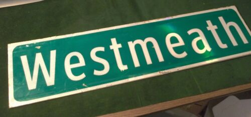 "Vintage ORIGINAL WESTMEATH Double Street Sign 36"" X 9"" White Lettering on Green"