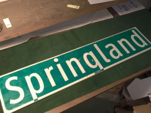"Vintage ORIGINAL SPRINGLAND Double Street Sign 42"" X 9"" White Lettering on Green"