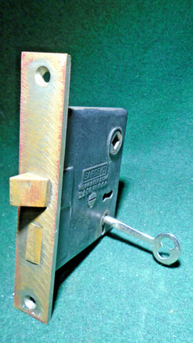 """ONE SARGENT #5234 MORTISE LOCK with KEY - CIRCA 1900 FACEPLATE 5 1/2"""" (11374-5)"""