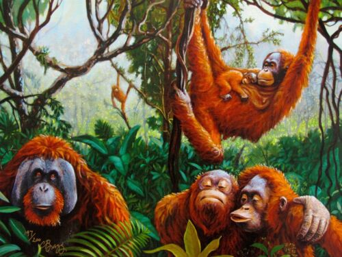 Charles Lynn Chick Bragg ORANGUTANS Hand Signed Limited Edition Giclee on Canvas