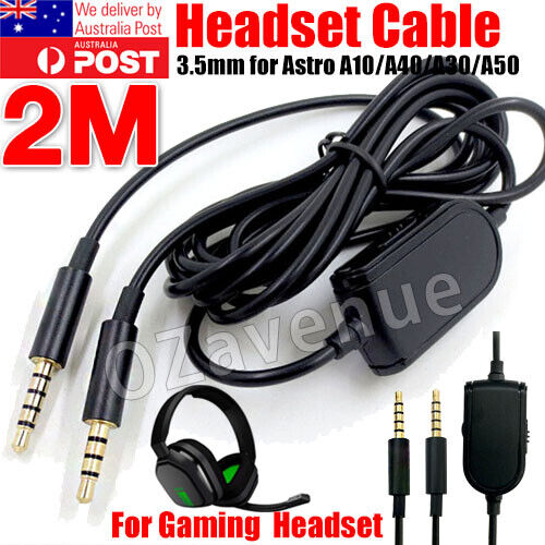 Gaming Headset Audio Cable w/Mute+Volume Control for Astro A10 A30 A40 MDR-10R