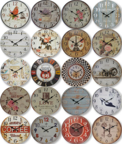 New 34cm Round Wall Clock Rustic French Provincial Country Assorted Designs