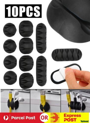 10-piece Multi-Purpose Cable Clips Tidy Cord Lead Organiser USB Charger Holder