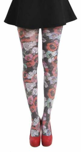 16/18 20/24 28/32 |  Pamela Midnight Poppy Floral Printed Plus Size Tights 40D