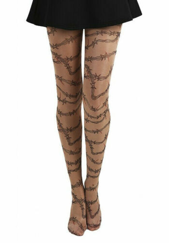 16/18 20/26 |  Pamela Barbed Wire Gothic Tattoo Tights (Nude)