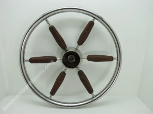 Authentic Stainless Steel & Wood Boat Wheel -(XR10-2321)