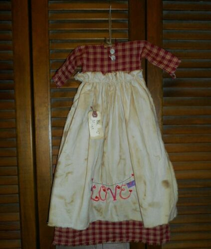 Primitive Wall Dress Red Plaid w/apron LOVE Clothesline, Prim,Grungy,Valentine