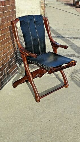 Don Shoemaker Mid century Modern Folding Leather arm chair + Vintage Retro cool