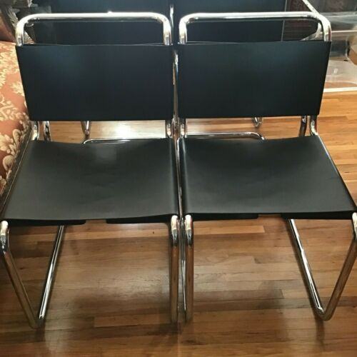 Pair of 2 1998s Knoll Spoleto Cantilever Sling Chairs in Black Leather & Chrome